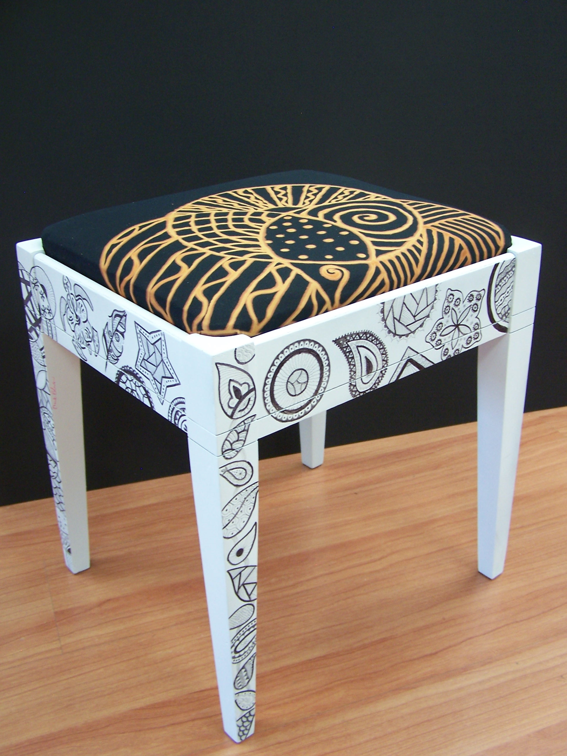"Hank Robinson ""Zen Stool"" Mixed Media"