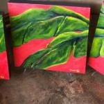 "Emma Kay Robinson ""Triptych Leaves"" Oil on Canvas 15""x15"" (3)"